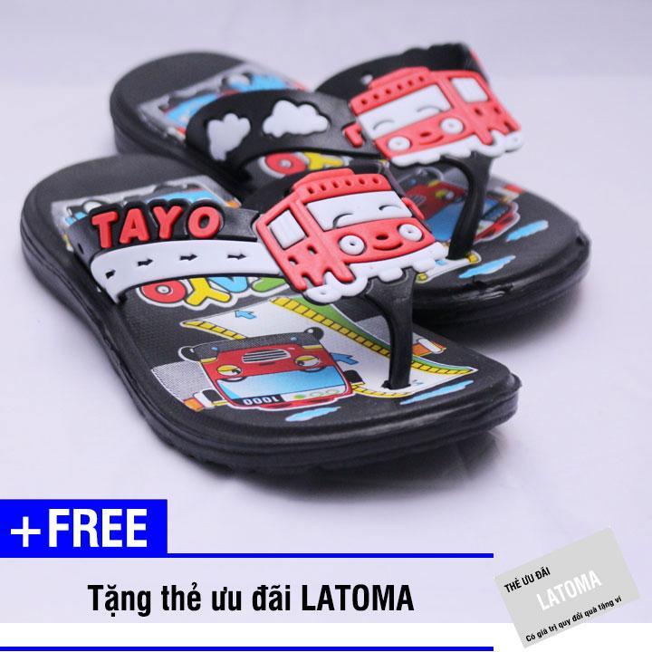 Dép xỏ ngón bé trai TAYO cao cấp Latoma TA1211 (Đen)+ Tặng kèm thẻ ưu đãi Latoma