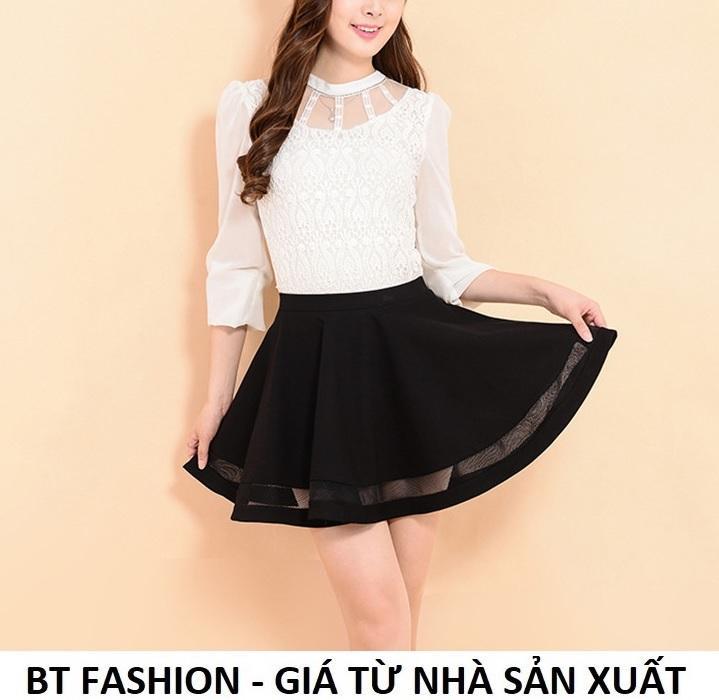 Chân Váy Xòe Lưng Thun Duyên Dáng Thời Trang Hàn Quốc - BT Fashion (VA002- Phối Lưới)