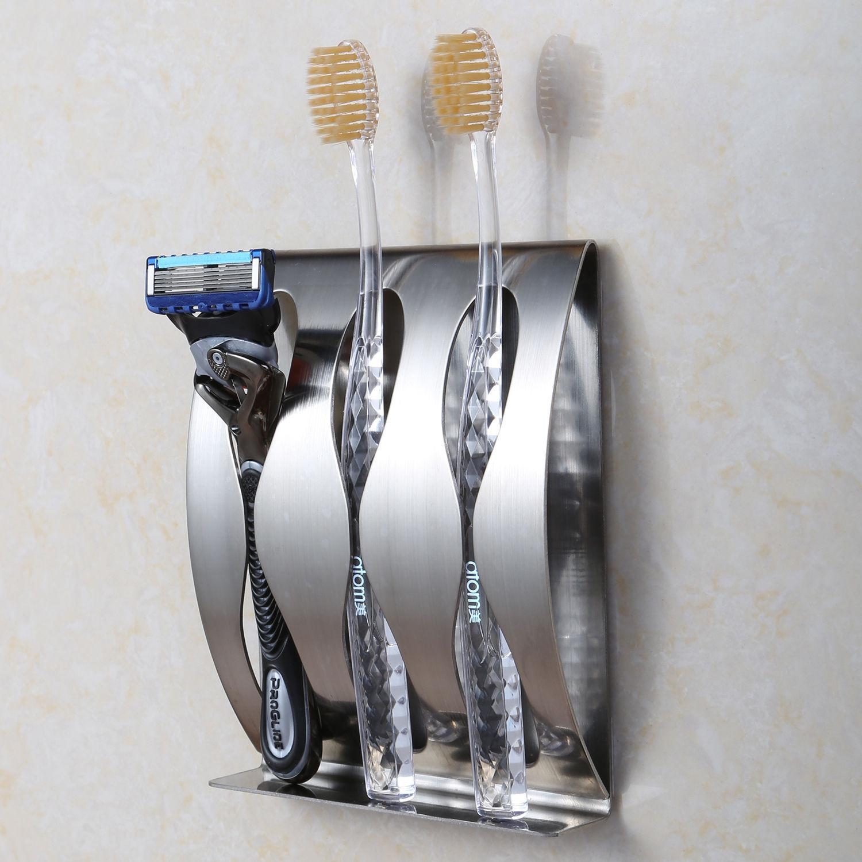 Kệ Đựng Bàn Chải Đánh Răng, Kệ Inox SUS304 Treo Bàn Chải 3 Ngăn Dán Tường Phòng Tắm Tiện Lợi