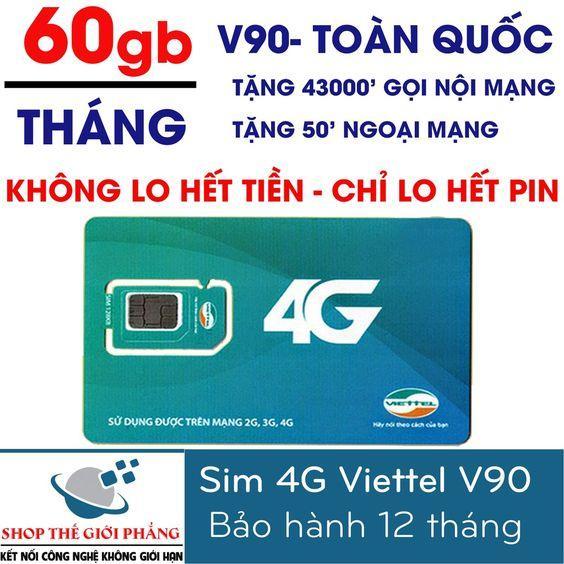 SIM 4G VIETTEL V90 miễn phí gọi nội mạng, tặng 62GB/THÁNG