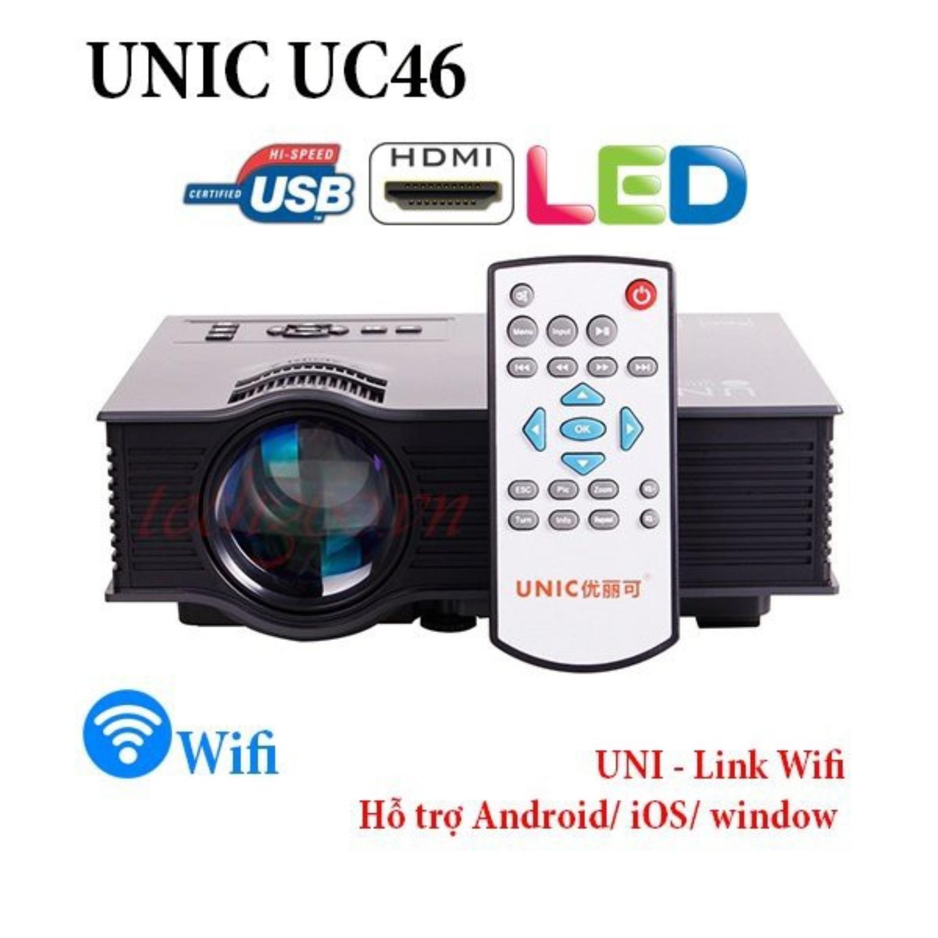 Máy chiếu Mini Unic UC46 Wifi (Đen) 2018