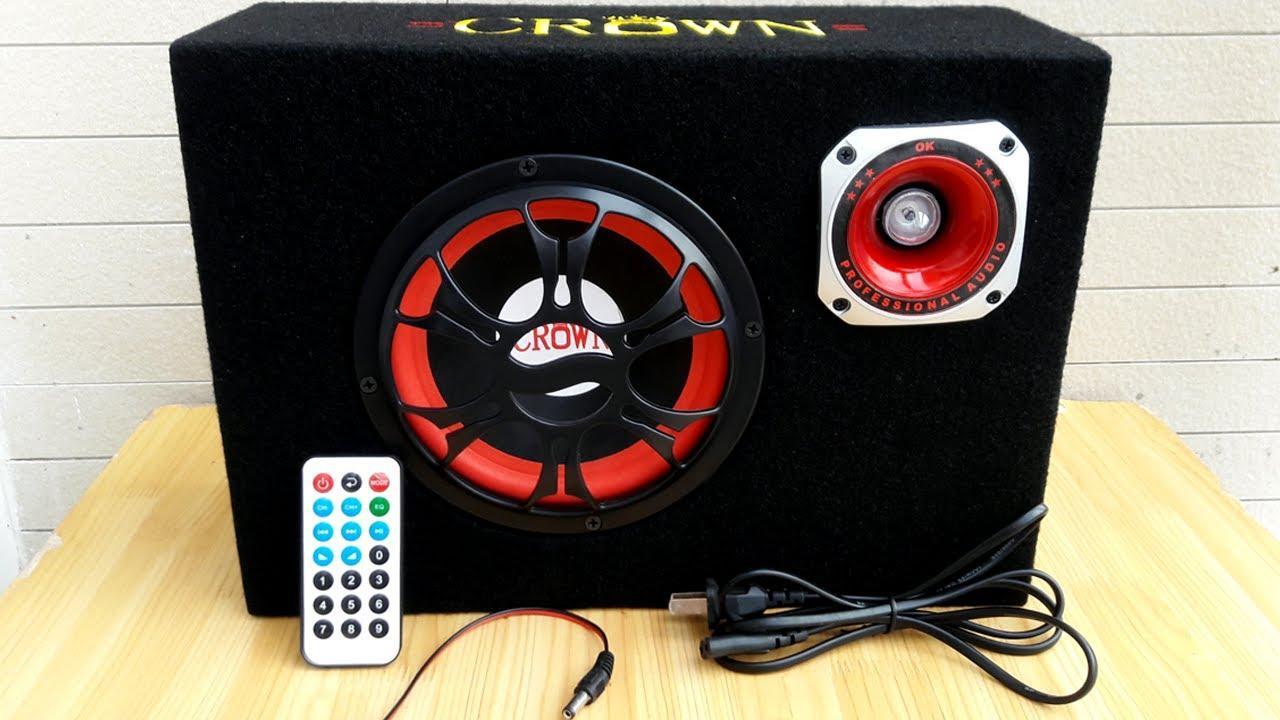 Loa di động Crown 6 Vuông công suất lớn + dây AV