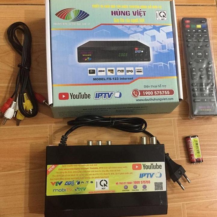 đầu thu truyền hình số mặt đất DVB T2 hùng việt ts 123 internet youtube