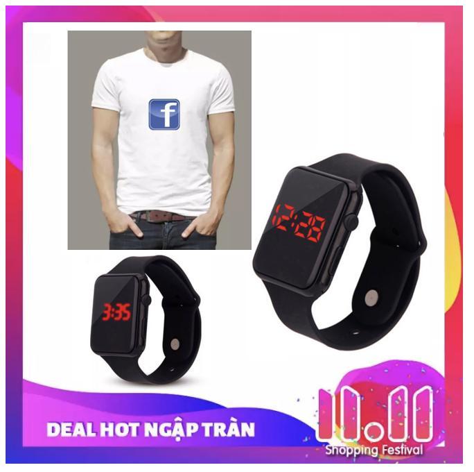 Áo thun nam nữ IN logo f.acebook (Trắng) +Tặng đồng hồ kiểu táo nam nữ đeo được