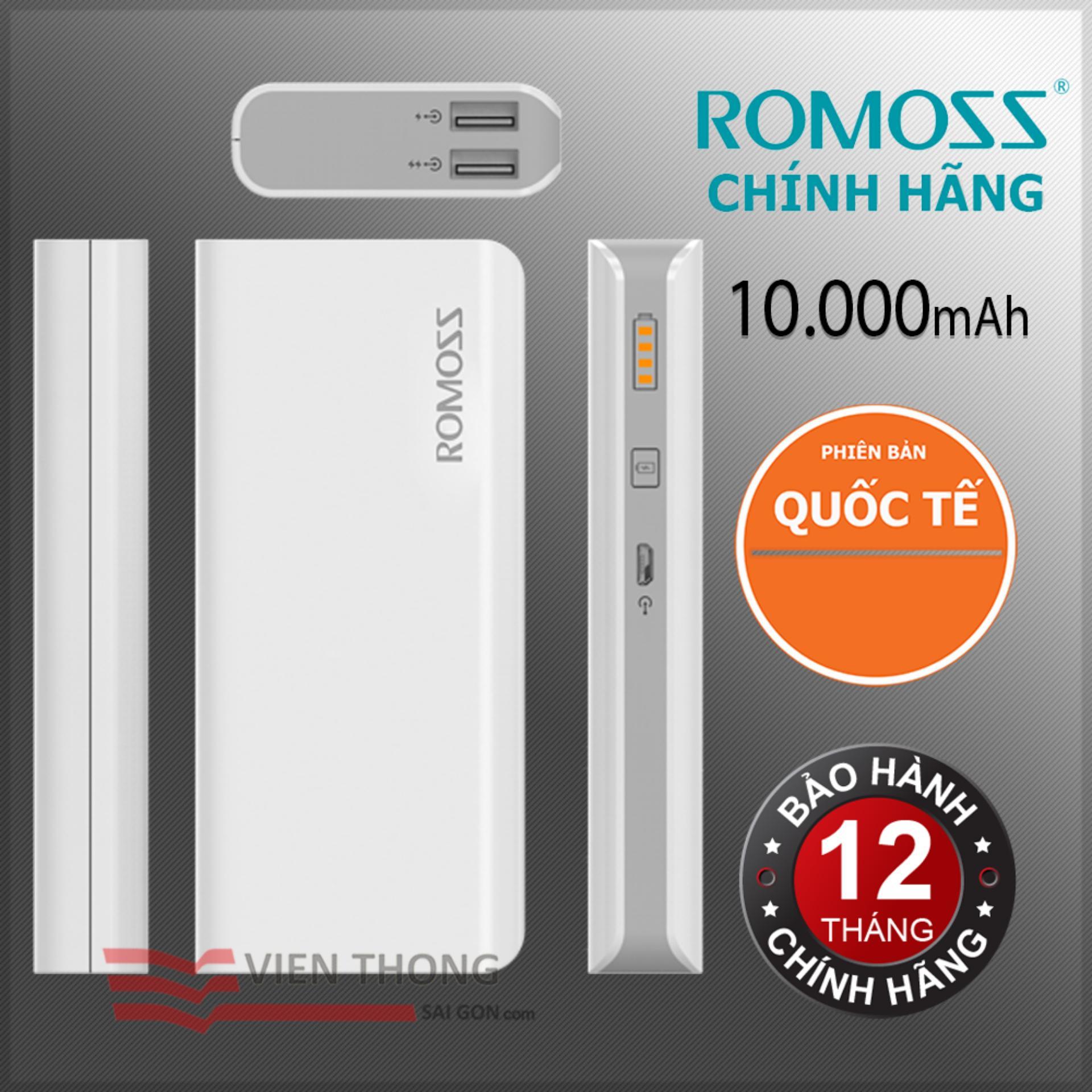 Pin sạc dự phòng 10000mah Romoss GL Solit 5 - Hãng Phân phối chính thức (Màu Trắng)