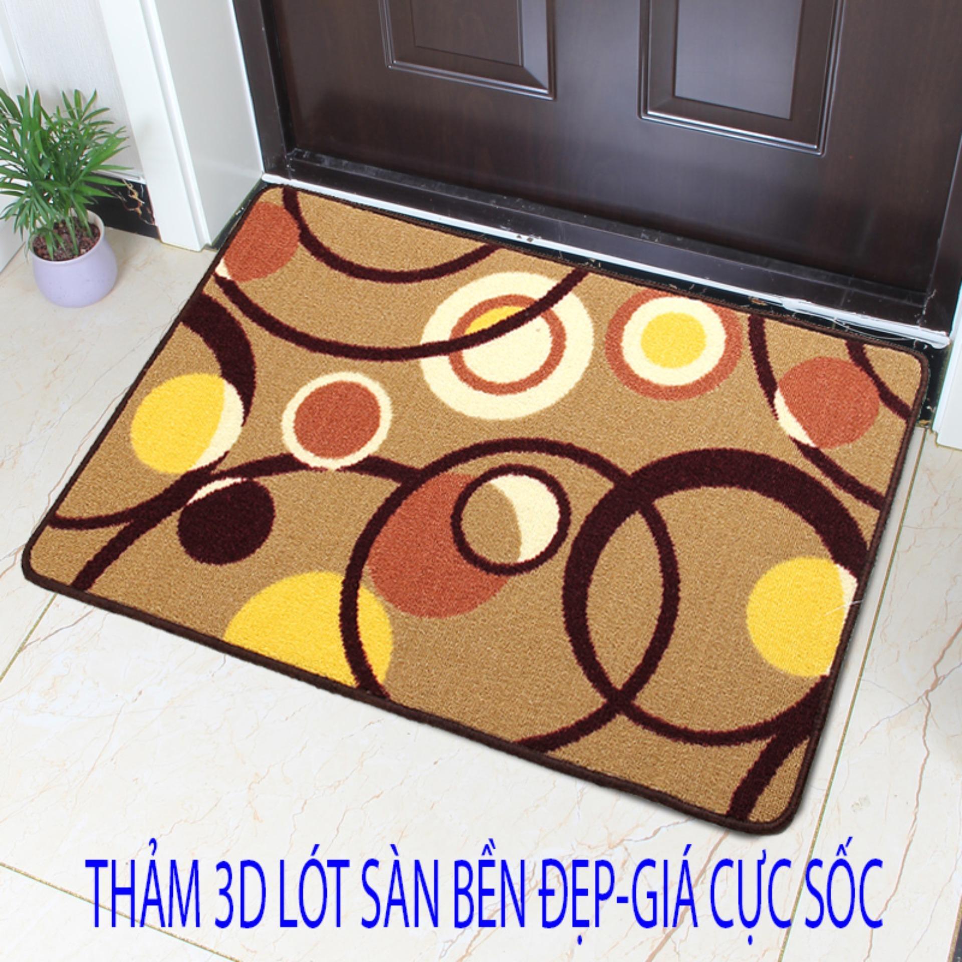 Bộ 2 thảm hoa lau chân 3D (60x40x1.5) khong vien