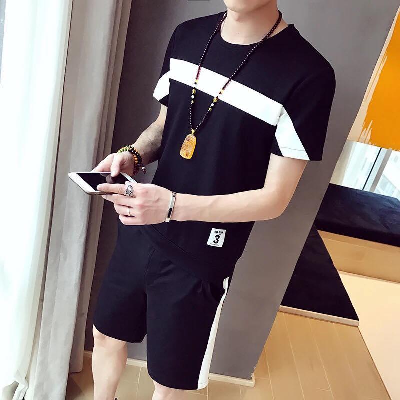 Bộ quần áo thun nam cổ tròn ngắn tay phối kẻ thể thao FrancisB QA NAM 100006 B