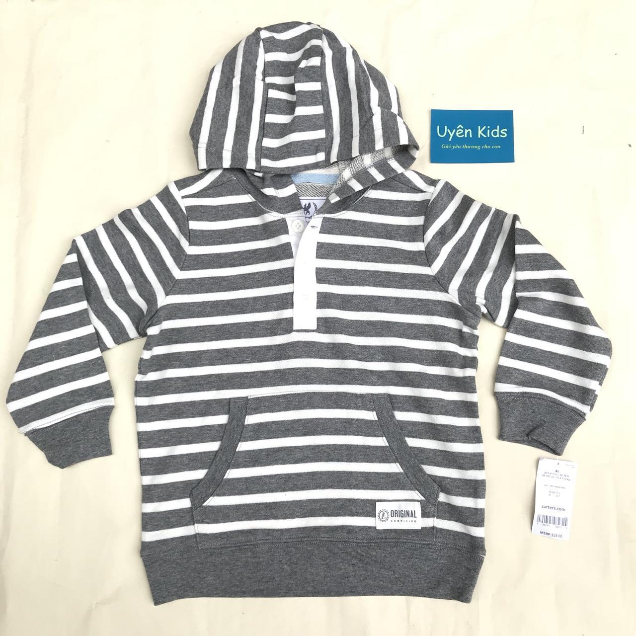 Áo Hoodie xuất khẩu bé trai 1-8T sọc xám