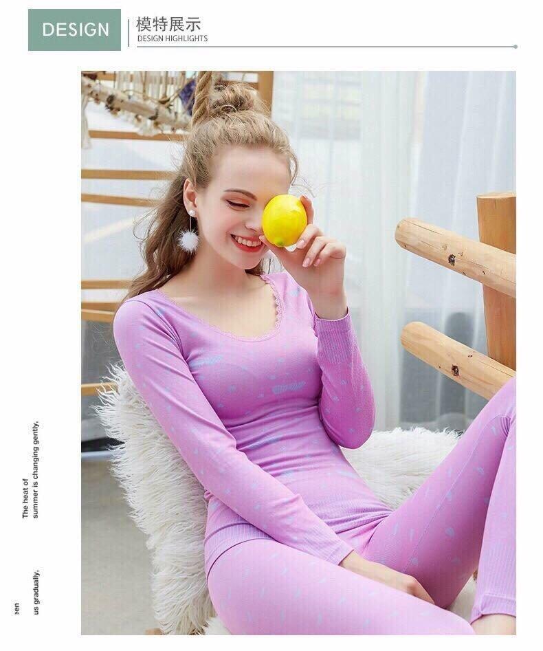 Bộ quần áo giữ nhiệt cho phái nữ ấm áp mềm mại siêu dễ chịu ( màu ngẫu nhiên )
