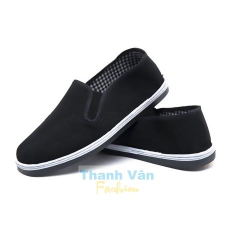 Giày lười vải dành cho nam nữ, size từ 35-45 (đen)