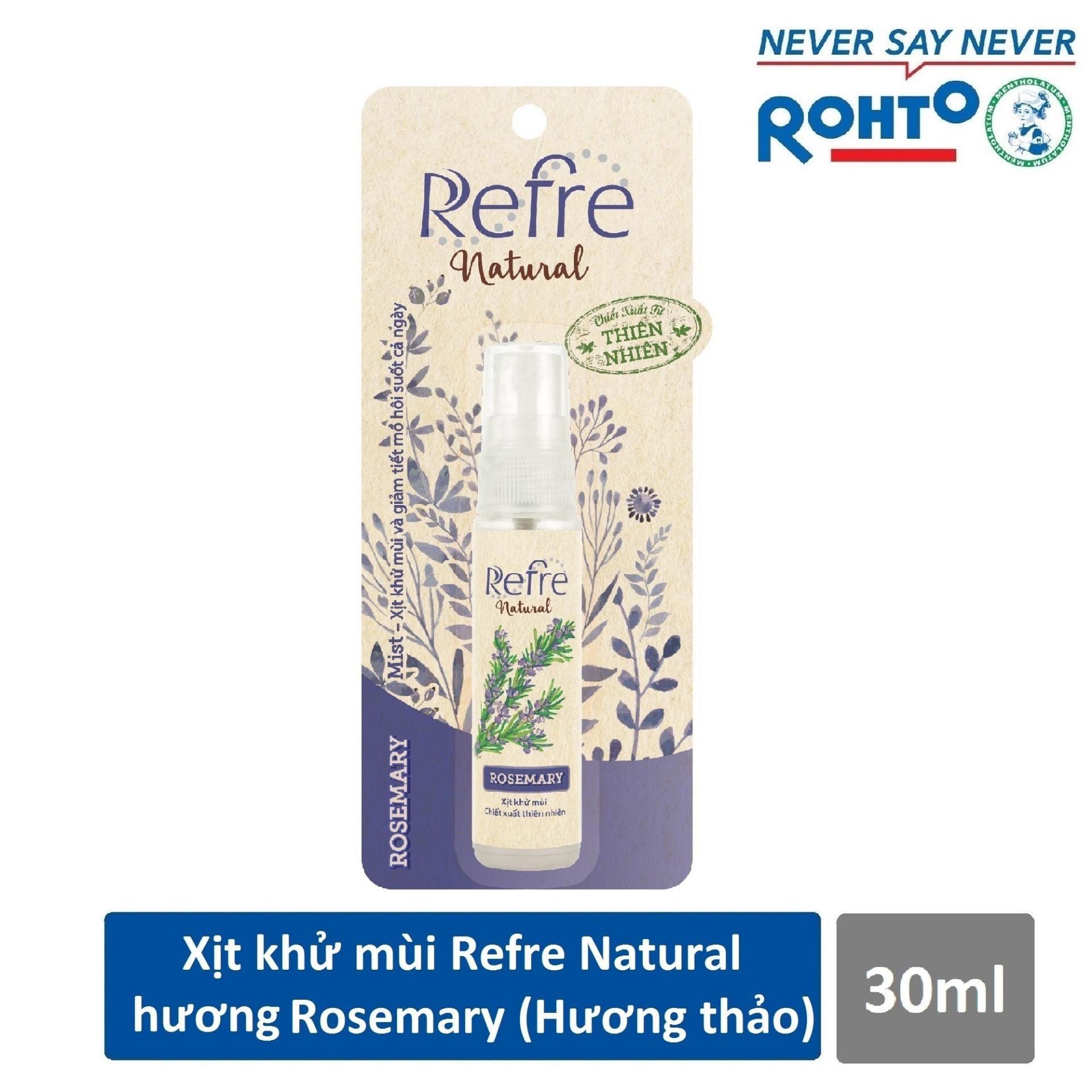 Xịt Khử Mùi Refre Natural Rosemary Hương Hương Thảo 30Ml