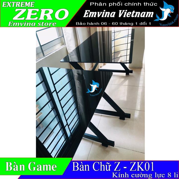 Bàn chơi game chữ z zk01v2 gaming kính cường lực 8 li ISO 9001:2008 kích thước 1 mét 2 x 60cm bàn chơi game làm việc văn phòng học tập điều thích hợp có nhiều màu sắc sản xuất tại VIỆT NAM chính hãng EMVINA NÂNG NIU BỜ MÔNG VIỆT