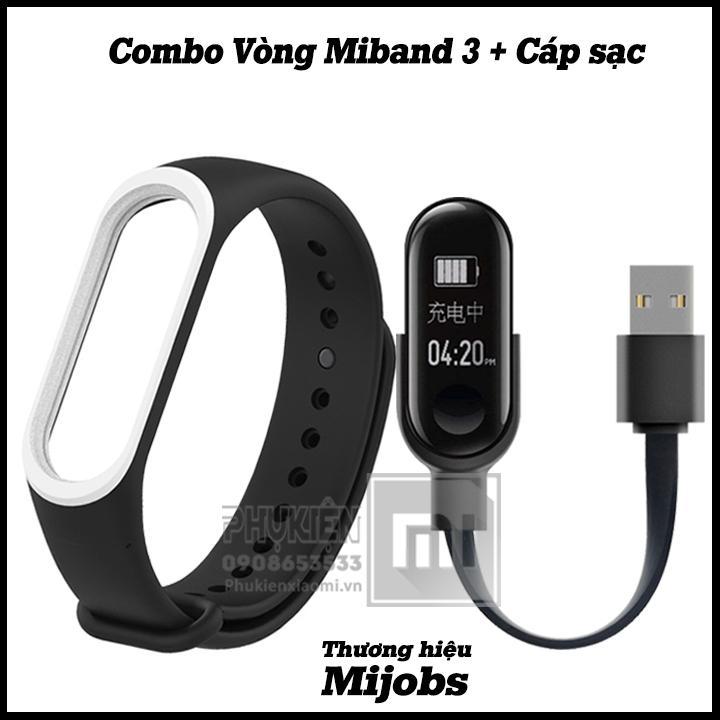 Combo dây đeo thay thế Miband 3 đen viền màu Mijobs + cáp sạc Xiaomi Miband 3 ( không kèm máy Miband 3 )