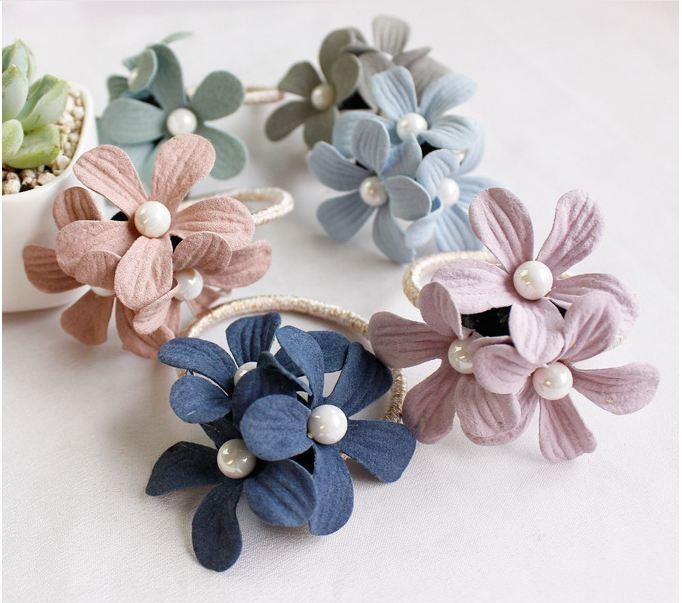 Combo 3 Dây buộc tóc, dây cột tóc đính hoa rất xinh xắn, thời trang Hàn Quốc