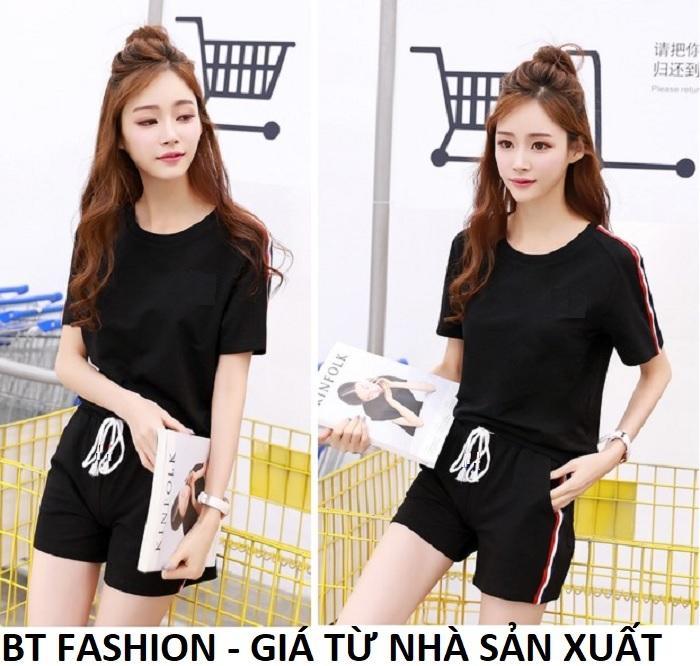 Đồ Bộ Áo Thun Nữ + Quần Đùi Sọt Thun Nữ Thể Thao, Ở Nhà, Đồ Ngủ Thời Trang Hàn Quốc Mới - BT Fashion (ĐN01-Viền3M)