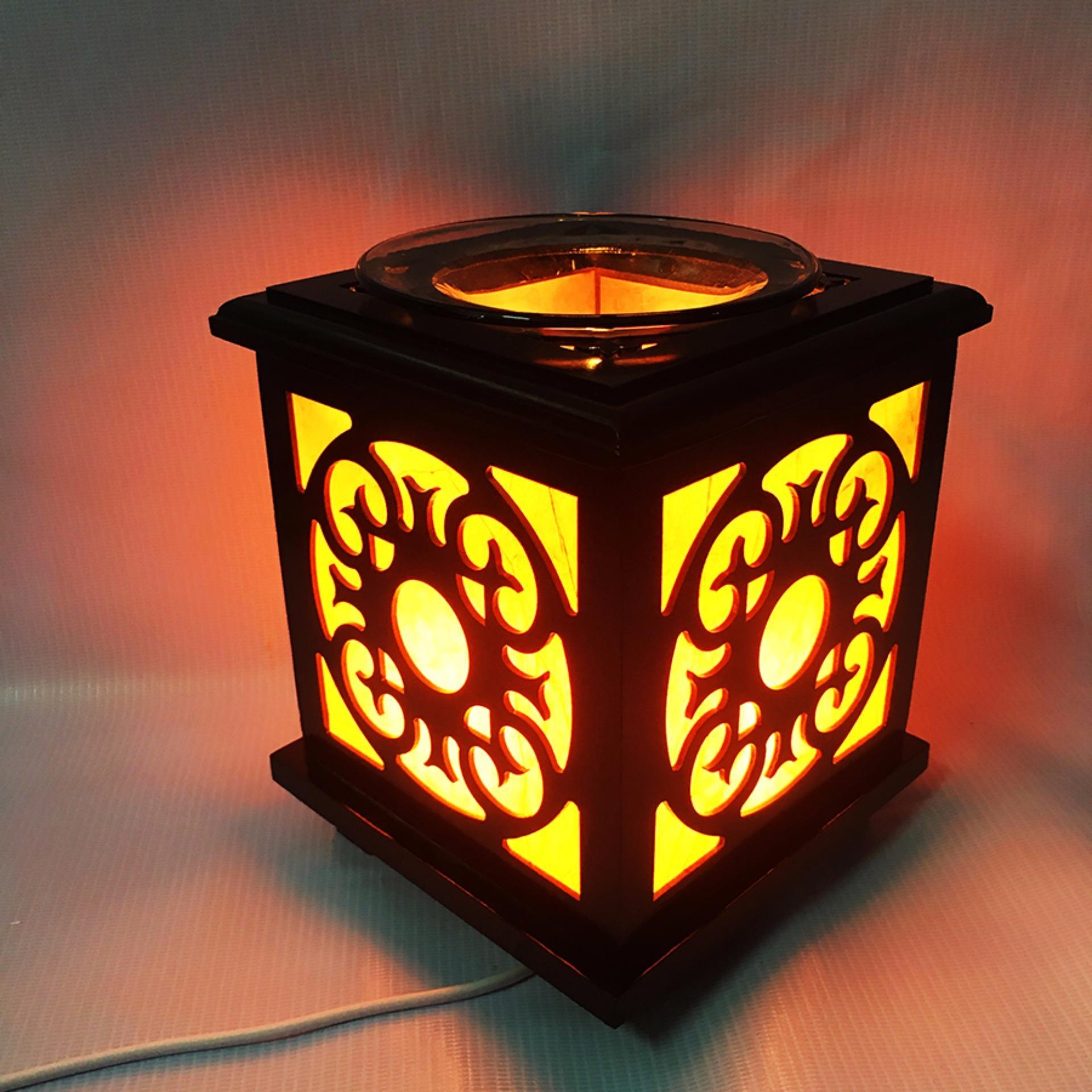 Đèn xông tinh dầu gỗ vuông 43 dùng điện