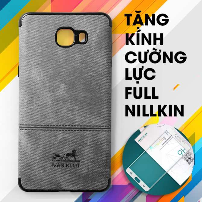 Ốp dẻo Samsung Galaxy C9 Pro IVAN KLOT vân da khắc logo (Xám)