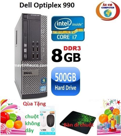 Máy tính Dell optiplex 990 Core i7 RAM 8GB HDD 500GB , Tặng chuột không dây chính hãng , ban di chuột , Bảo hành 24 tháng - Hàng nhập khẩu (Xám)