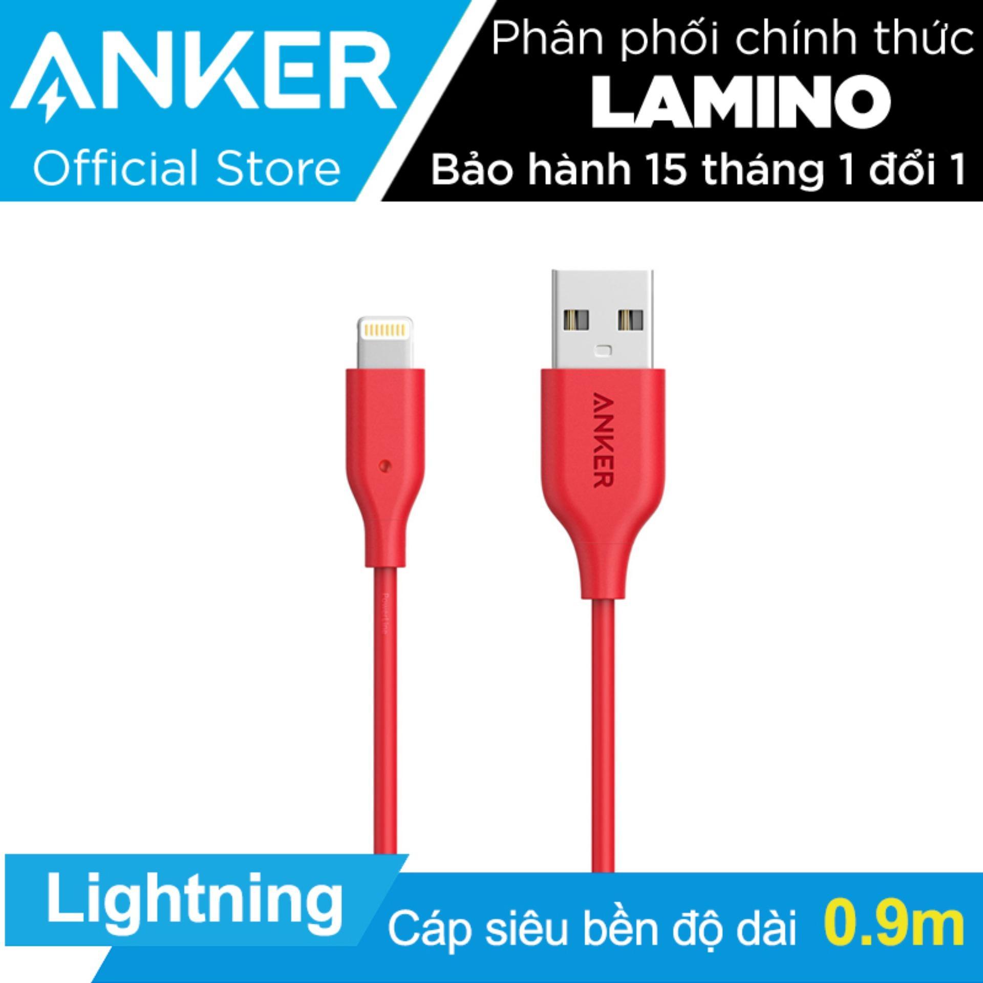 Cáp sạc siêu bền Anker PowerLine Lightning 0.9m cho iPhone iPad iPod (Đỏ) - Hãng phân phối chính thức