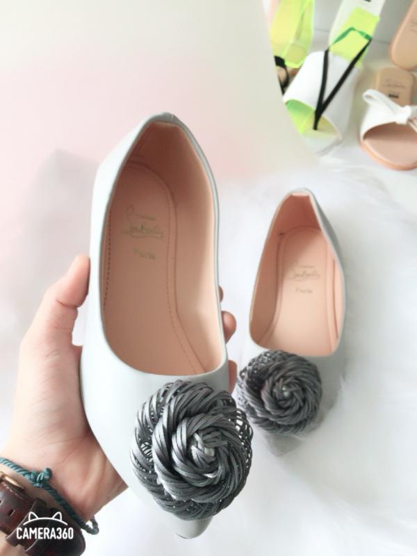 Giày Búp Bê Hoa Xoắn Châu- Xám