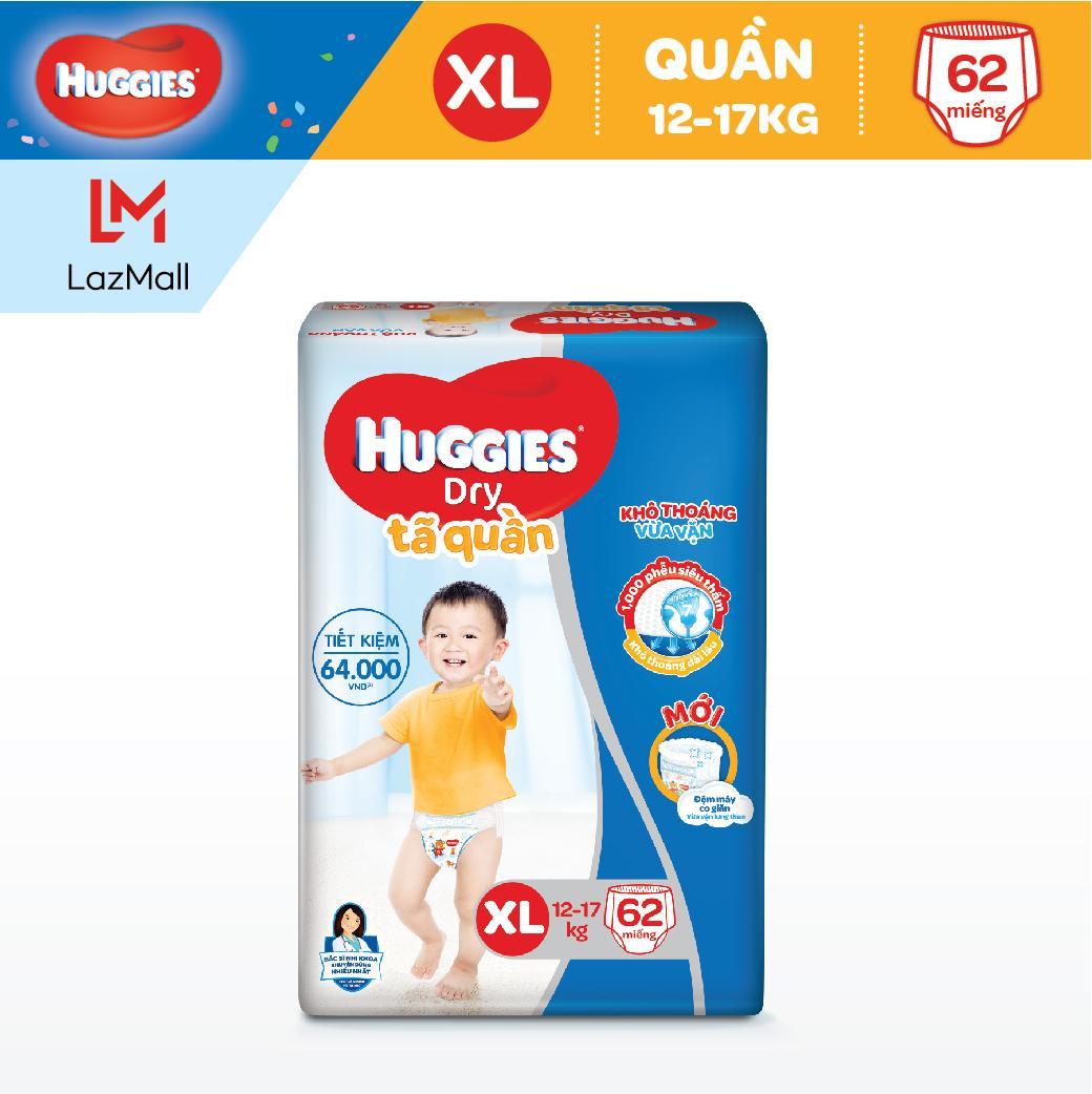 Tã quần Huggies Super Jumbo XL62 (Đệm mây co giãn) - Gói 62 miếng (Cho bé 12kg - 17kg)