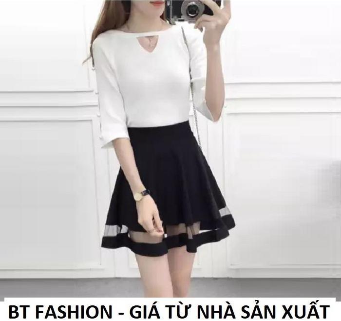 Chân Váy Xòe Lưng Thun Duyên Dáng Thời Trang Hàn Quốc - BT Fashion (VA004- Phối Lưới)