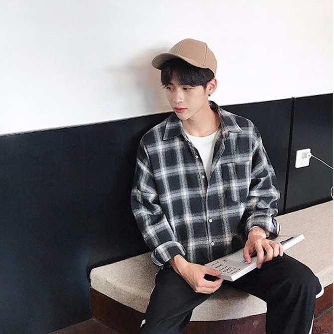Hình ảnh Áo sơ mi flannel caro xám - Áo sơ mi nam - Sơ mi nam sọc caro Chick's Store 93