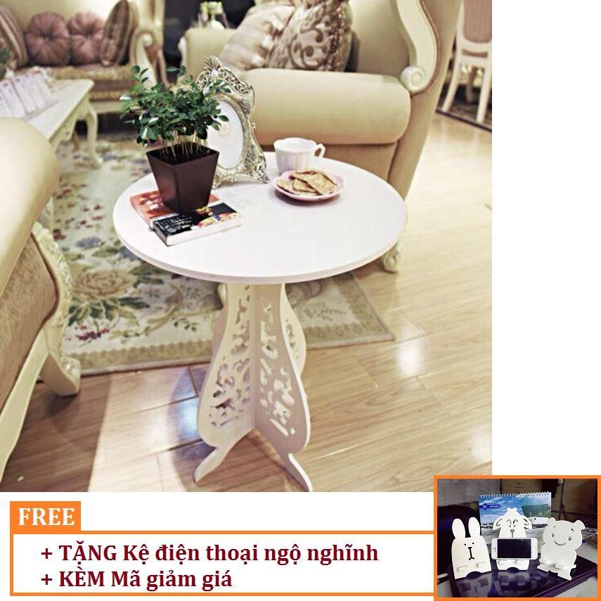 Bàn trà chân hoa TẶNG NGAY Kệ điện thoại ngộ nghĩnh HOME DECOR