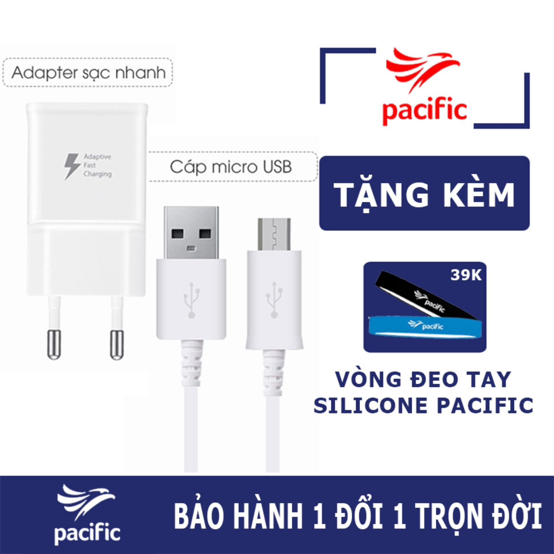 Bộ sạc nhanh Fast Charge cho Samsung Galaxy S5, S6, S7, NOTE4, NOTE5 - Tặng Vòng đeo tay Silicone Pacific