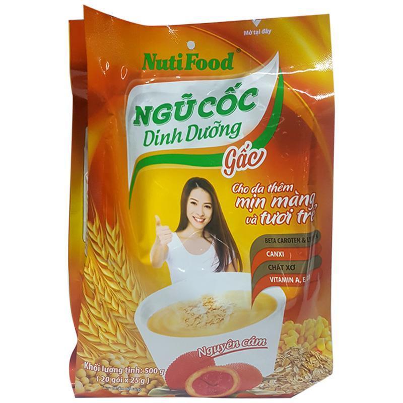Ngũ cốc dinh dưỡng gấc và canxi NutiFood gói 500g