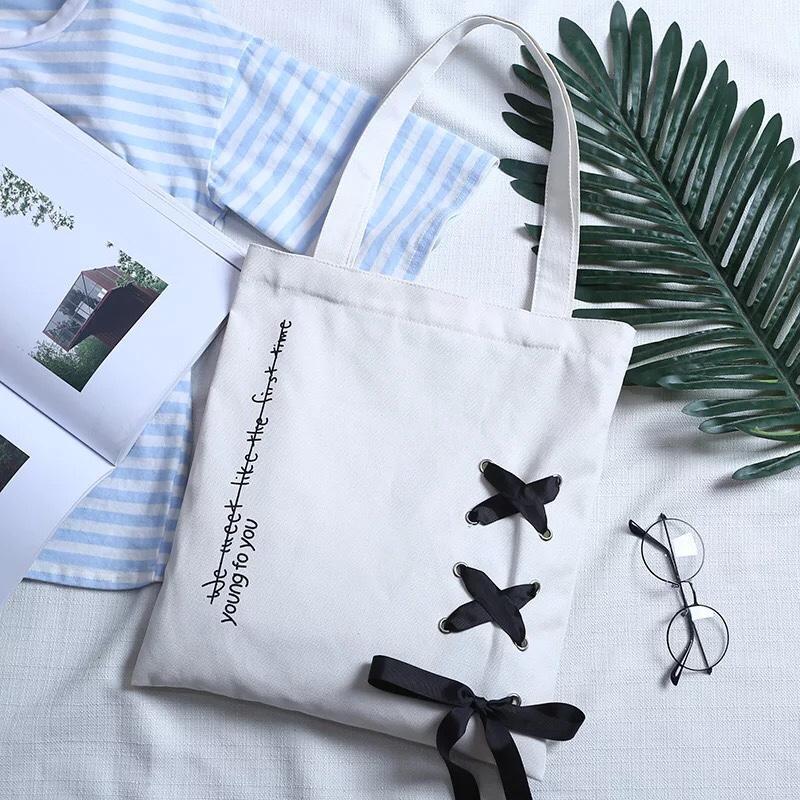 Túi tote canvas đeo vai, đeo chéo thời trang Hàn Quốc - The Hills TT01
