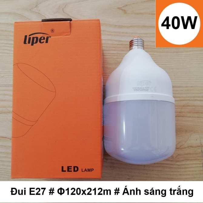 Bóng đèn LED búp trụ 40W ánh sáng trắng đui xoáy E27 LIPER LPQP40ELED-01