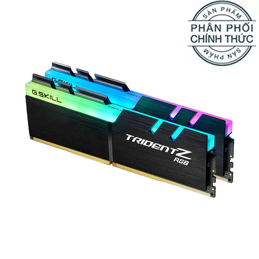 Ram PC G.SKILL Trident Z full length RGB DDR4 32GB Bus 3000 Black CL16 XMP (Kit 16GB x 2) F4-3000C16D-32GTZR - Hãng Phân Phối Chính Thức