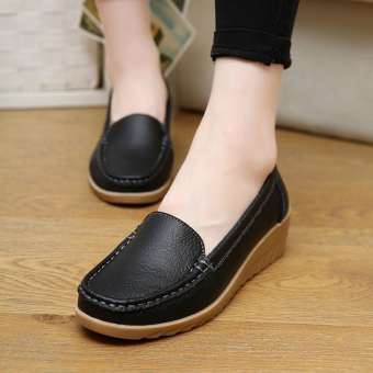 รองเท้าลำลองเพื่อสุขภาพพื้นลาดเอียงต่ำ นิ่มสบาย ผู้หญิง ไซส์ใหญ่ (สีส้ม)