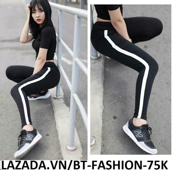 Quần Dài Nữ Thun Ôm Legging Thể Thao Thời Trang Hàn Quốc - BT Fashion (Sọc Lớn-01)