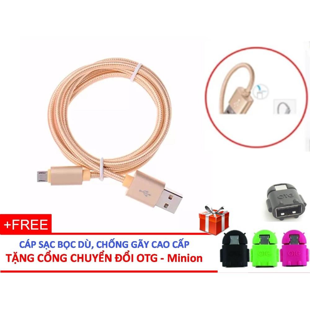 CÁP SẠC Micro USB / Androi BỌC DÙ CAP CẤP + TẶNG CỔNG CHUYỂN ĐỔI OTG Minion