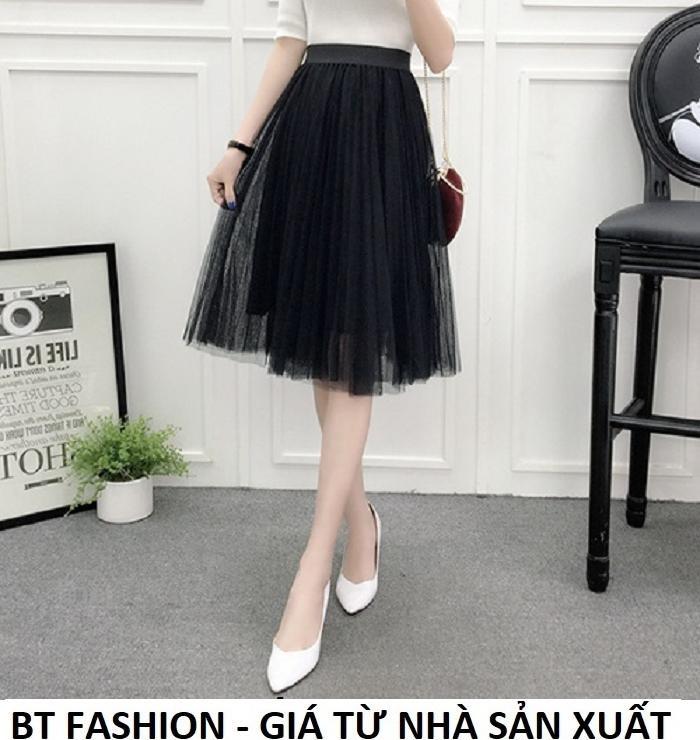 Chân Váy Xòe Dài Duyên Dáng Thời Trang Hàn Quốc - BT Fashion (VA02 - Vải Lưới)
