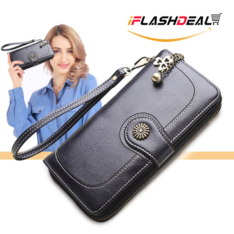 7b3ae8ce8de iFlashDeal Women Long Wallet Purse Card Holder PU Leather ladies wallet  Clutch Zipper Female Money Bag Coin Purse