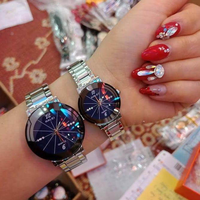 Hình ảnh Cặp Đồng hồ Halei nam nữ cao cấp chống xước, chống nước tuyệt đối (Giá 1 đôi) dây trắng mặt xanh