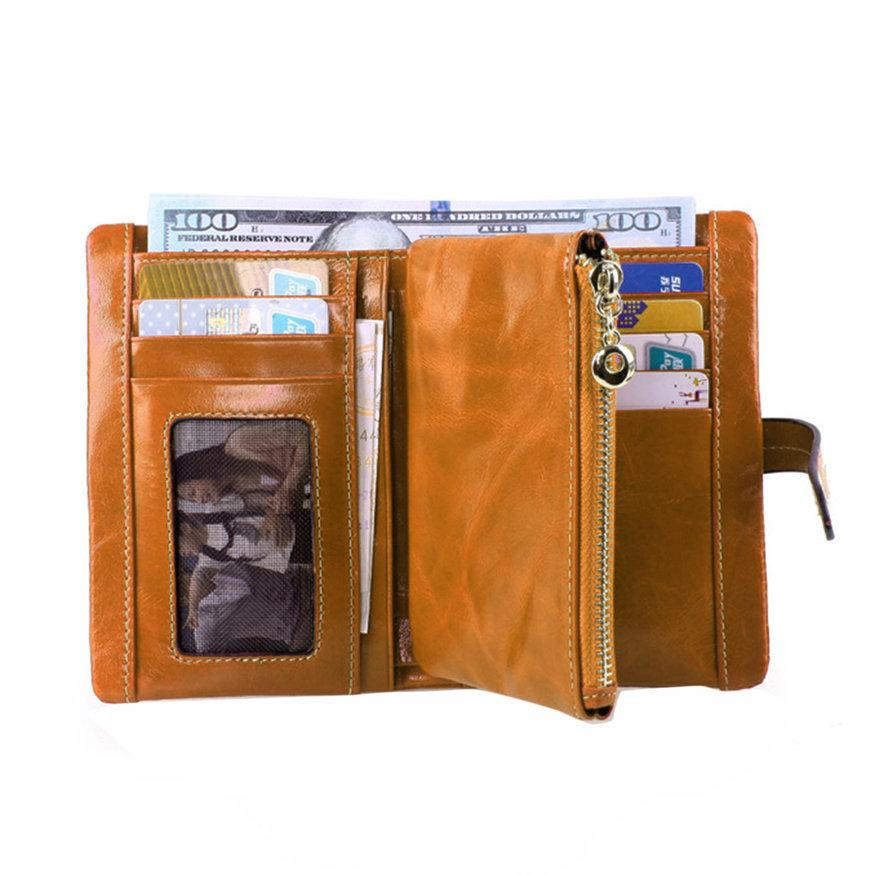 UINN 2068 Leather Wallets Casual Oil Cover Coin Card Holder Portable Fold Purse Camel