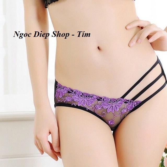 Quần lót ren dây sexy loại đẹp 5 dây lệch - Tím (Ngoc Diep Shop)