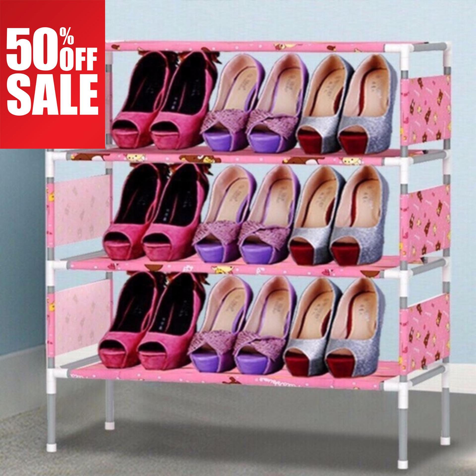 Tủ giày nhựa, Kệ đựng giầy dép inox bọc vải giá rẻ , BẢO HÀNH 1 ĐỔI 1