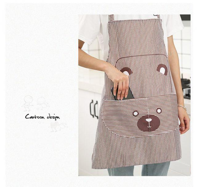 Tạp Dề Nhà Bếp Hàn Quốc cao cấp họa tiết dễ thương - Giữ sạch quần áo, có túi lớn phía trước tiện lợi  khi nấu ăn ( Màu ngãu nhiên)