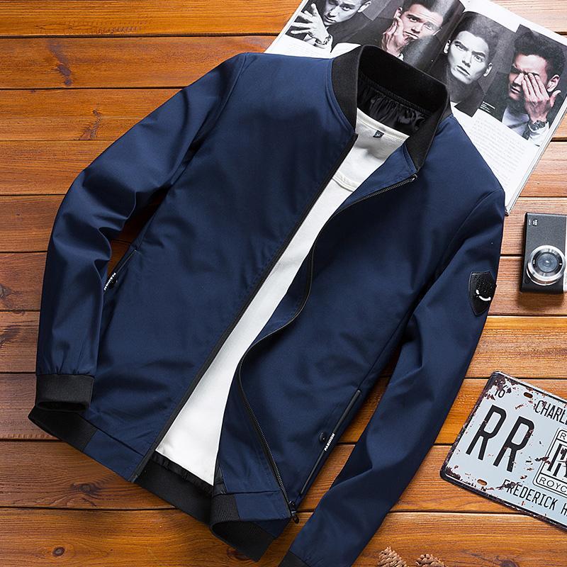 Jackets Men Stand Collar Printed Zipper Pockets Leisure Daily High Quality Hip Hop Trendy Jacket Mens Ulzzang Soft Overcoats Jackets & Coats Jackets