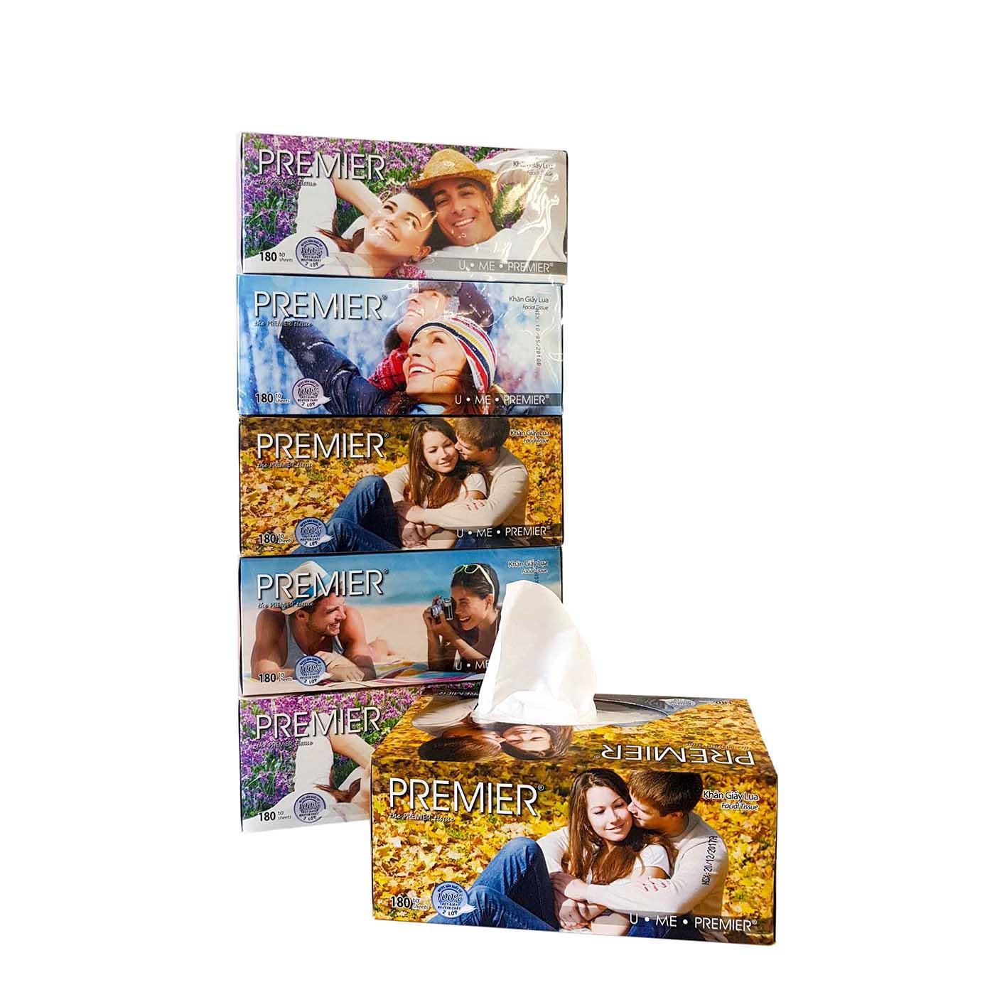 Combo 5 hộp khăn giấy hộp Premier 180 tờ/ hộp thương hiệu NTPM