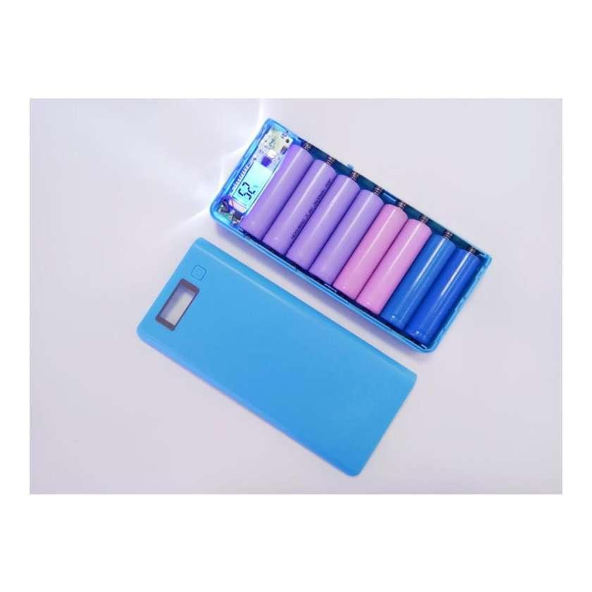 Box khung sạc dự phòng 8 khe pin dùng pin 18650 (Xanh dương, chưa pin)