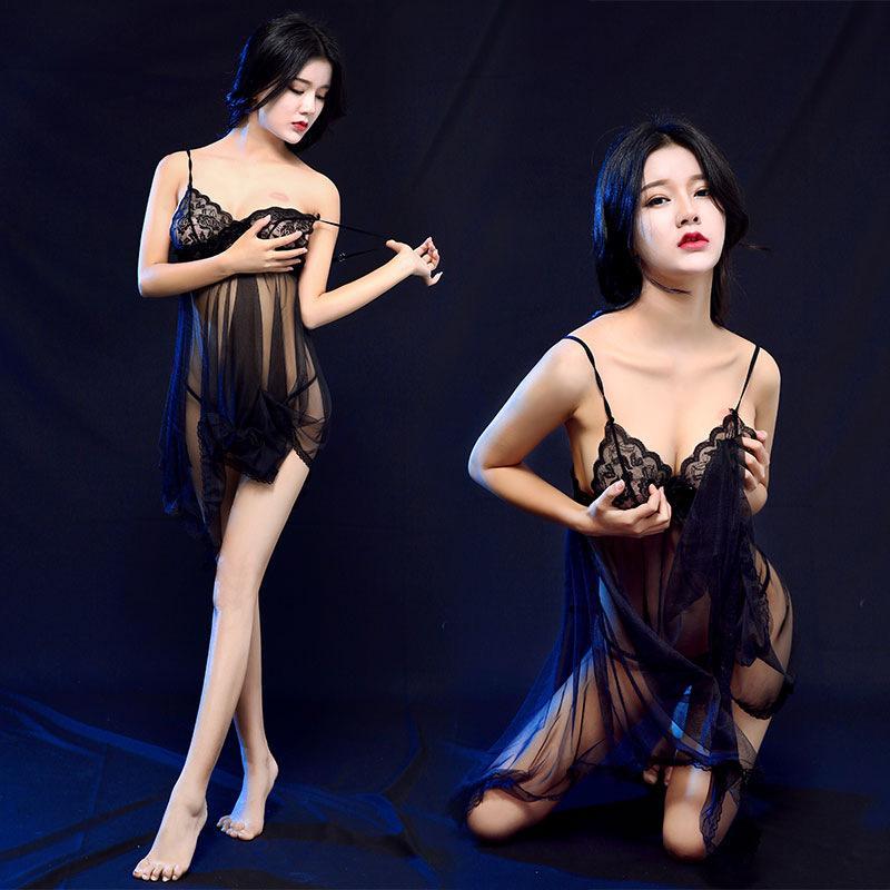 Váy ngủ nữ ren mỏng xuyên thấu cực sexy kèm quần lọt khe HOT 2018