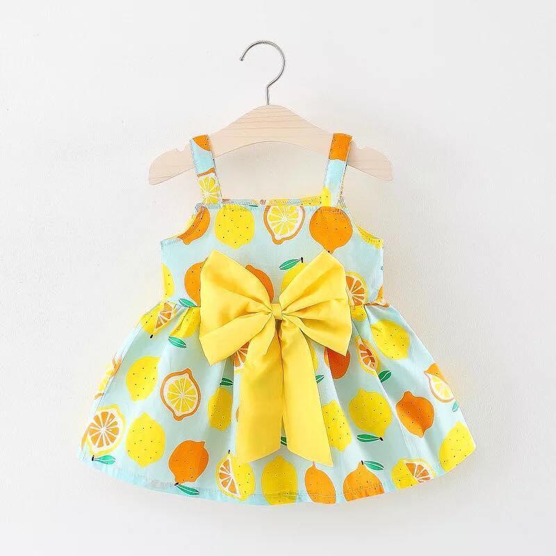 Váy 2 dây thiết kế nơ sành điệu- vải chất thô lụa - cực xinh cho bé gái (hàng bán shop và siêu thị)