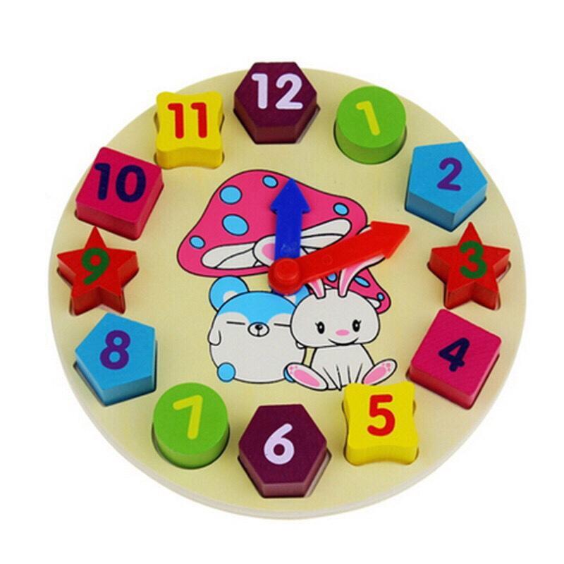 Đồng hồ đồ chơi hình học bằng gỗ cho bé