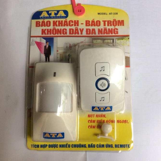 Image result for Chuông báo khách báo động chống trộm hồng ngoại không dây ATA AT-338
